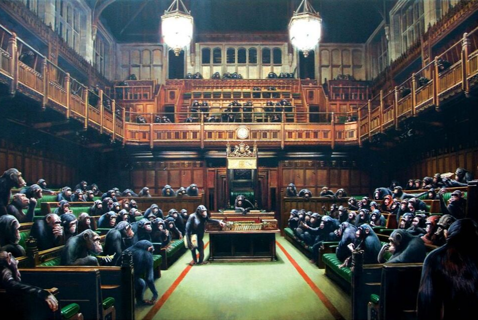 """Banksy's """"Devolved Parliament"""" painting sells for $12mn"""