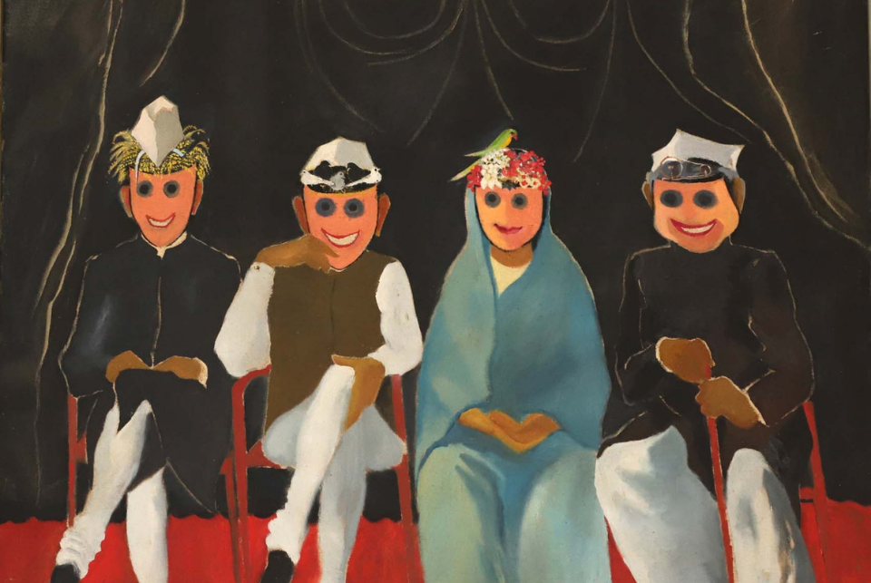 Works of artists associated with the Silpi Chakra view on Dhoomimal Art Gallery's retrospective